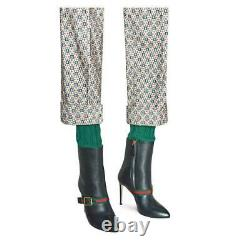 Gucci Femmes Sylvie Green/red/green Web Black Leather Ankle Boots, 40/us 9.5-10