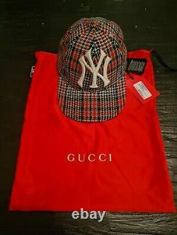 Gucci Hommes Ny Yankees Rouge Noir Plaid Cap, Taille 57-61cm Très Rare! Stock De Mort