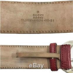 Gucci Shimaline Hommes, Femmes Ceinture Standard En Cuir Noir, Couleur Rouge