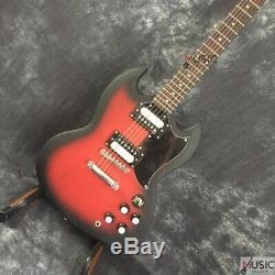 Guitare Électrique Sg Standard Lp Angus Noir Mat Satiné Rouge Éclaté