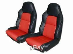 Housse De Siège Personnalisée Similicuir Noir / Rouge Chevrolet Corvette Standard C4 1994-1996