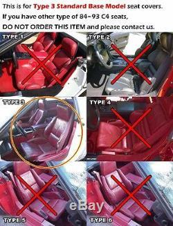 Housse De Siège Sur Mesure Simili Cuir Noir / Rouge Chevy Corvette C4 Standard 1984-1993