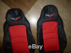 Housses De Sièges En Cuir De Rechange Corvette C6 2005-2011, Noir Et Rouge