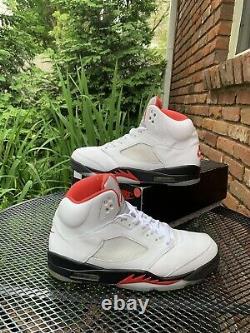 Jordan 5 V Retro Fire Rouge Blanc Noir Métallique Og Taille 11 Da1911-102 Nike Air