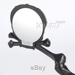 Kiwav Rétroviseurs Moto Style Noir Avec Yeux Rouges M10 5/16 Us Stock
