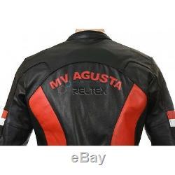 MV Agusta Corse Noir Rouge Moto Moto Blindé Veste De Biker En Cuir Véritable