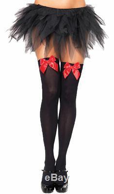 Morris Costumes Bas Pour Femmes Bow Thigh Highs Noir Rouge One Size. Ua6255brd