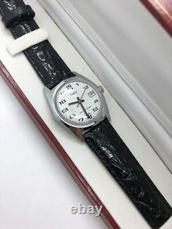 New From Old Stock Timex Men's Manual Wind Red Seconds Date Watch Leather Band