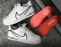 New Size 8 Nike Air Force 1 Réaction D/ms/x Blanc Noir Rouge Cd4366-100 Af1 Basse Top