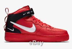 Nike Air Force 1 07 MID Lv8 Rouge / Noir / Tour Yello Stock Limité Pour Hommes, Toutes Les Tailles