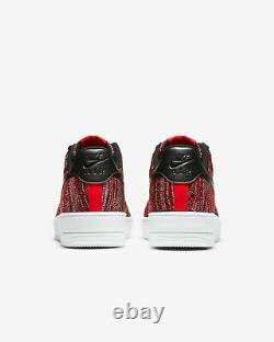 Nike Air Force 1 Flyknit 2.0 Université Rouge Noir Gris Ci0051-600 Chaussures Homme Nouveau
