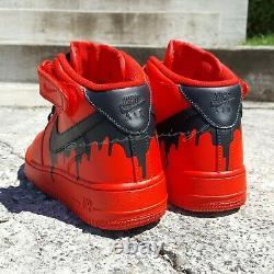 Nike Air Force 1 MID Red Black Drip Custom T.n.-o.