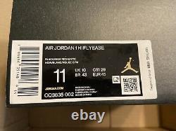 Nike Air Jordan 1 Hi Flyease Chaussures Gris Rouge Noir Cq3835-002 Taille Homme 11 Nouveau