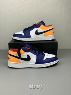 Nike Air Jordan 1 Low Aj1 Royal Yellow Blue Blanc Blanc Black Hommes De Chaussures 553558-123