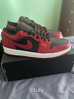 Nike Air Jordan 1 Low I Aj1 Inverser Bred Noir Rouge Blanc Hommes Sz10 553558-606