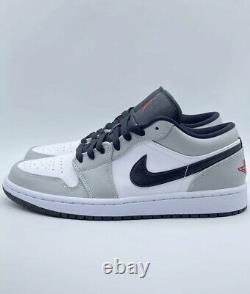 Nike Air Jordan 1 Low Light Smoke Gris Rouge Blanc Rouge Noir 553558-030 Taille 10 Nouveau