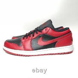 Nike Air Jordan 1 Low Reverse Bred Mens Taille 15 Noir Rouge 553558-606 Aj1 Sans Couvercle