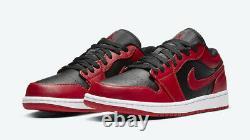 Nike Air Jordan 1 Low Shoe Inverser Bred Black Gym Rouge 553558-606 Hommes Ou Gs Nouveau