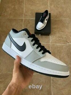 Nike Air Jordan 1 Low Smoke Gris Noir Rouge Blanc 553558-030 Taille 12 Nouveau