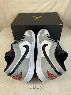 Nike Air Jordan 1 Low Smoke Gris Noir Rouge Blanc 553558-030 Taille 14 Nouveau