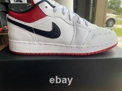 Nike Air Jordan 1 Low White Gym Rouge Noir 553560-118 Gs Taille 7y (femmes 8,5)