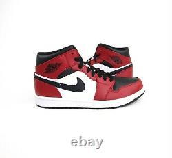 Nike Air Jordan 1 MID Chicago Toe Rouge Noir Blanc Bred 554724-069 Taille Homme