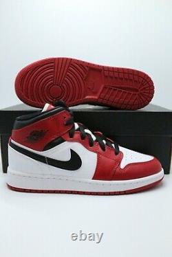 Nike Air Jordan 1 MID Chicago White Heel Gym Rouge 554724-173 Homme & Gs