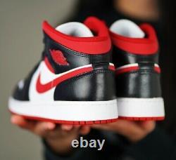 Nike Air Jordan 1 MID Gs White Gym Rouge Noir Dj4695-122 Taille 4y-7y