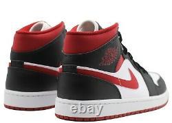 Nike Air Jordan 1 MID Metallic Gym Rouge Noir Blanc 554724-122 Tailles Gs Pour Homme