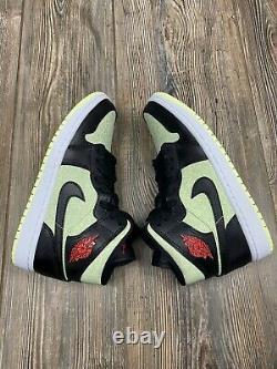 Nike Air Jordan 1 MID Se Womens Taille 9 S'adapte Homme 7.5 Noir Rouge À Peine Volt