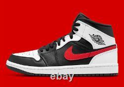 Nike Air Jordan 1 MID Shoes Black White Chile Red 554724-075 Homme Ou Gs Nouveau