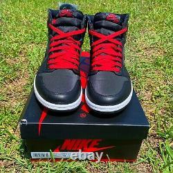 Nike Air Jordan 1 Retro High Og Black Gym Satin Rouge 555088-060 Hommes Taille 10