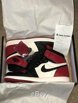 Nike Air Jordan 1 Retro High Og Bred Toe Noir / Rouge 100% Dead Taille Stock 7y