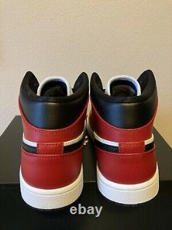 Nike Air Jordan 1 Rétro MID Chicago Bred Toe Sz 11 Noir Rouge Blanc 554724-069