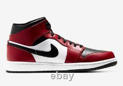 Nike Air Jordan 1 Rétro MID Chicago Toe Mens 554724-069 Rouge Blanc Noir Sz 13