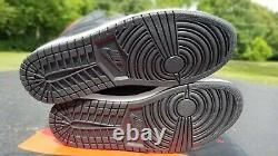Nike Air Jordan 1 Retro Og Haut Noir Satin Gym Rouge Taille 10 Hommes
