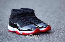 Nike Air Jordan 11 Retro Bred Noir / Rouge / Blanc Baskets Homme Stock Limite
