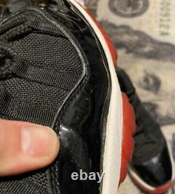 Nike Air Jordan 11 XI Bred Retro 2001 Black Mens Sz 10.5 Varsity Red 136046-061