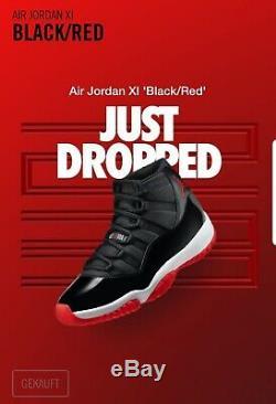 Nike Air Jordan 11 XI Noir / Rouge Bred Herren Sneaker Gr 43 Us Animaux Morts Neu 9,5