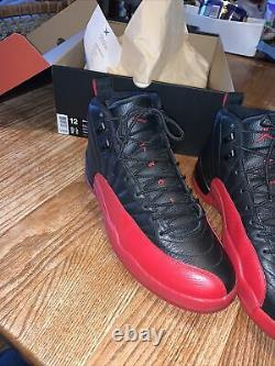 Nike Air Jordan 12 XII Flu Game Black Red Bred Playoff Size12 130690 002 Reçu