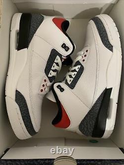 Nike Air Jordan 3 Retro Se Mens Sz 10.5 Blanc/fire Rouge/black Nouveau 1/2 Box