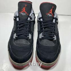 Nike Air Jordan 4 Retro Bred 2012 Noir/rouge 308497-089 Taille 12