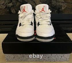 Nike Air Jordan 4 Retro Og Blanc Ciment Feu Rouge 2016 Hommes Taille 8.5