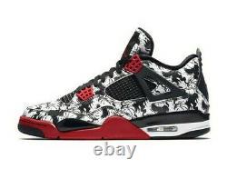 Nike Air Jordan 4 Retro Sneakers Tattoo Homme Taille 11 Noir/ Rouge /blanc Bq0897-006