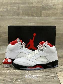 Nike Air Jordan 5 Retro Rouge Feu 2020 Blanc Noir Rouge Argent Taille 11 Da1911-102