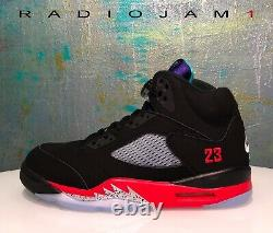 Nike Air Jordan 5 V Retro Top 3 Noir Raisin Taille Mens 11.5 Nouveau Withreceipt