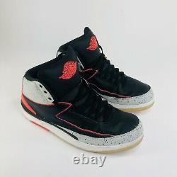 Nike Air Jordan II 2 Retro 2014 Hommes Taille 13 Noir Ciment Rouge Chaussures 35475-023