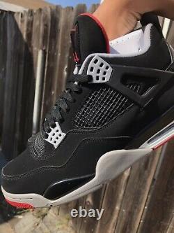 Nike Air Jordan IV 4 Taille Retro 11,5 Bred 2019 Og All Noir Rouge Og 308497-060