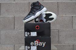 Nike Air Jordan Retro 11 72-10 Noir / Salle De Sport Rouge XI Taille 9 Dead Stock Authentic