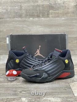 Nike Air Jordan Retro 14 XIV Dernier Tir Noir Rouge Jaune Taille 11.5 Og 1311832-010